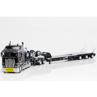 1:50 Kenworth K200 Prime Mover Drake 2x8 Dolly 3x8 Swingwing Trailer Black