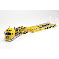 1:50 Kenworth K200 Prime Mover Drake 2x8 Dolly 3x8 Swingwing Trailer Yellow