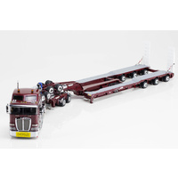 1:50 Kenworth K200 Prime Mover Drake 2x8 Dolly 3x8 Swingwing Trailer Vintage Burgundy