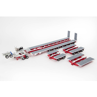 White / Red 7x8 Steerable Trailer with Accessory Kit
