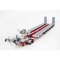 White / Red 7x8 Steerable Trailer