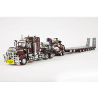 Burgundy T909 & 7x8 Steerable Trailer