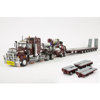 Burgundy T909 Prime Mover with 7x8 Steerable Trailer & Accessory Kit