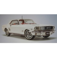 1:18 1966 Pony Mustang - Wimbledon White With Red Interior