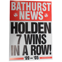 Bathurst News Poster - Holden 7 Wins In A Row