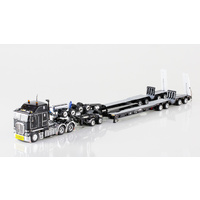 1:50 Kenworth K200 Prime Mover Drake 2x8 Dolly 4x8 Dragline Trailer Black